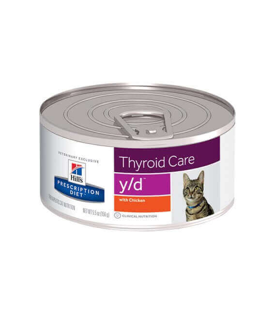 Pâtée Y/D THYROID CARE POULET Chat 24x156g - Prescription Diet
