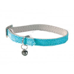 Collier Chat PAILLETE BLEU 30 cm
