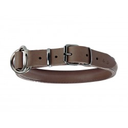COLLIER BOMBE CUIR TAUPE 20MM 45/54CM