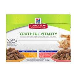 Sachets YOUTHFUL VITALITY ADULTE 7+ PACK MIXTE 12 x 85 g Chat - HILL'S Science Plan