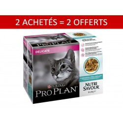 2 + 2 Purina Proplan Chat NUTRISAVOUR DELICATE SAUCE POISSON Sachets 10 X 85 g