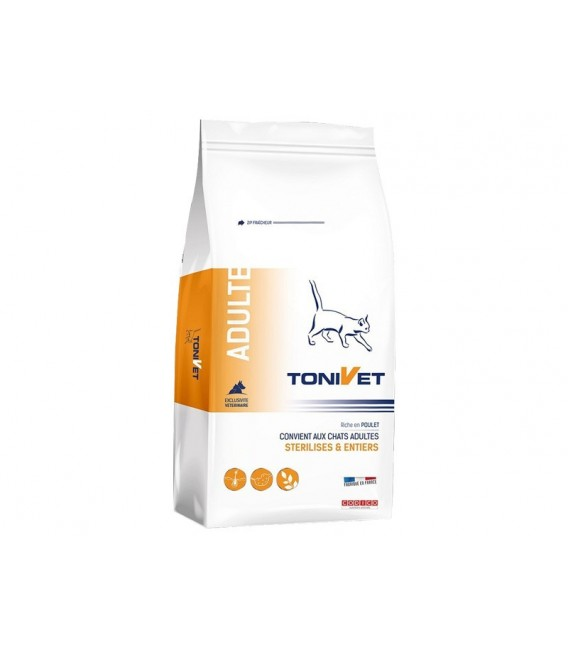Croquettes ADULT POULET Chat Sac 15 kg - Tonivet