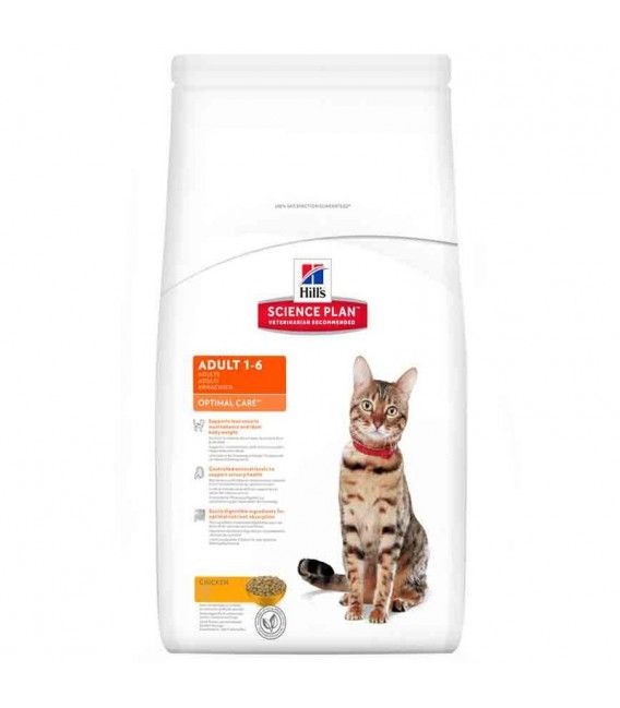 Croquettes ADULT OPTIMAL CARE POULET Sac 10 kg Chat - HILL'S Science Plan