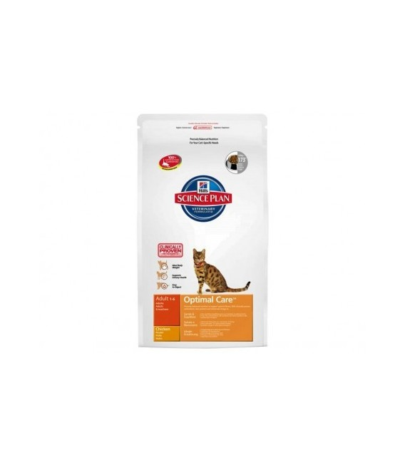 Croquettes ADULT OPTIMAL CARE POULET Sac 5 kg Chat - HILL'S Science Plan