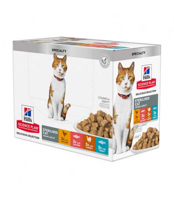 Pâtée STERILISED YOUNG ADULT PACK MIXTE Chat 12x85g - Science Plan