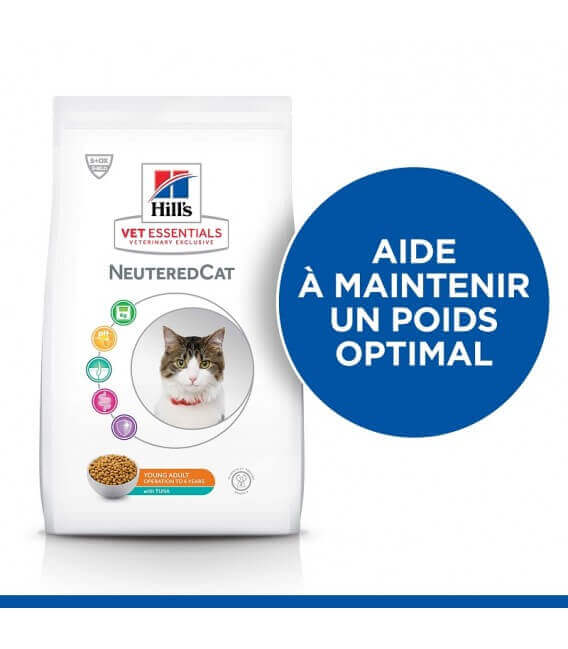 Croquettes NEUTERED YOUNG ADULT THON Chat Sac 2,5 kg - VetEssentials