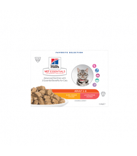 Pâtée ADULT POULET & SAUMON MULTIPACK Chat 12x85g - VetEssentials