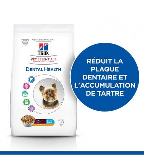 Croquettes ADULT DENTAL HEALTH SMALL&MINI POULET Chien Sac 7 kg - VetEssentials