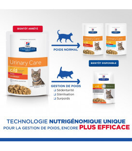 Pâtée C/D URINARY STRESS REDUCED CALORIE POULET Chat 12x85g - Prescription Diet