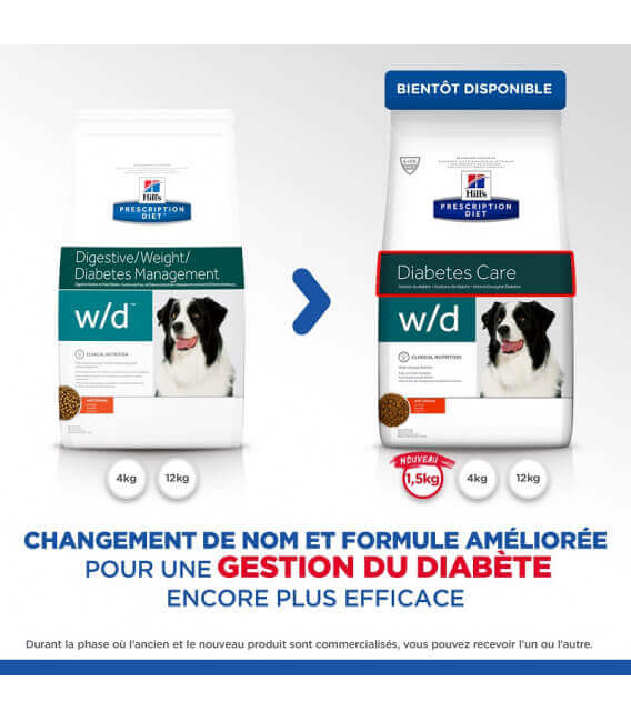 Croquettes W/D DIABETES CARE POULET Chien Sac 12 kg - Prescription Diet