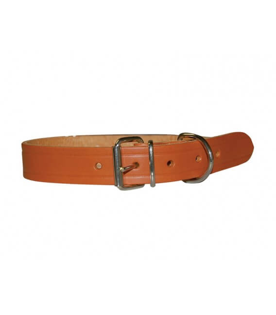 Collier CUIR RIVETE NATUREL T.XXL Chien